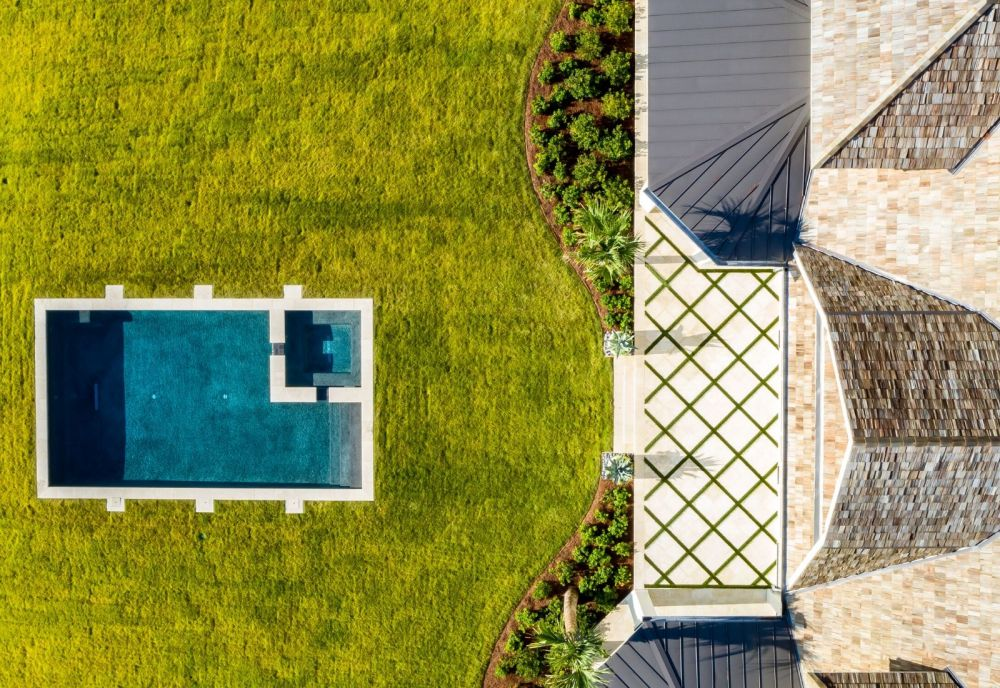 Drone photography Sea Island Ocean Front Home with Pool