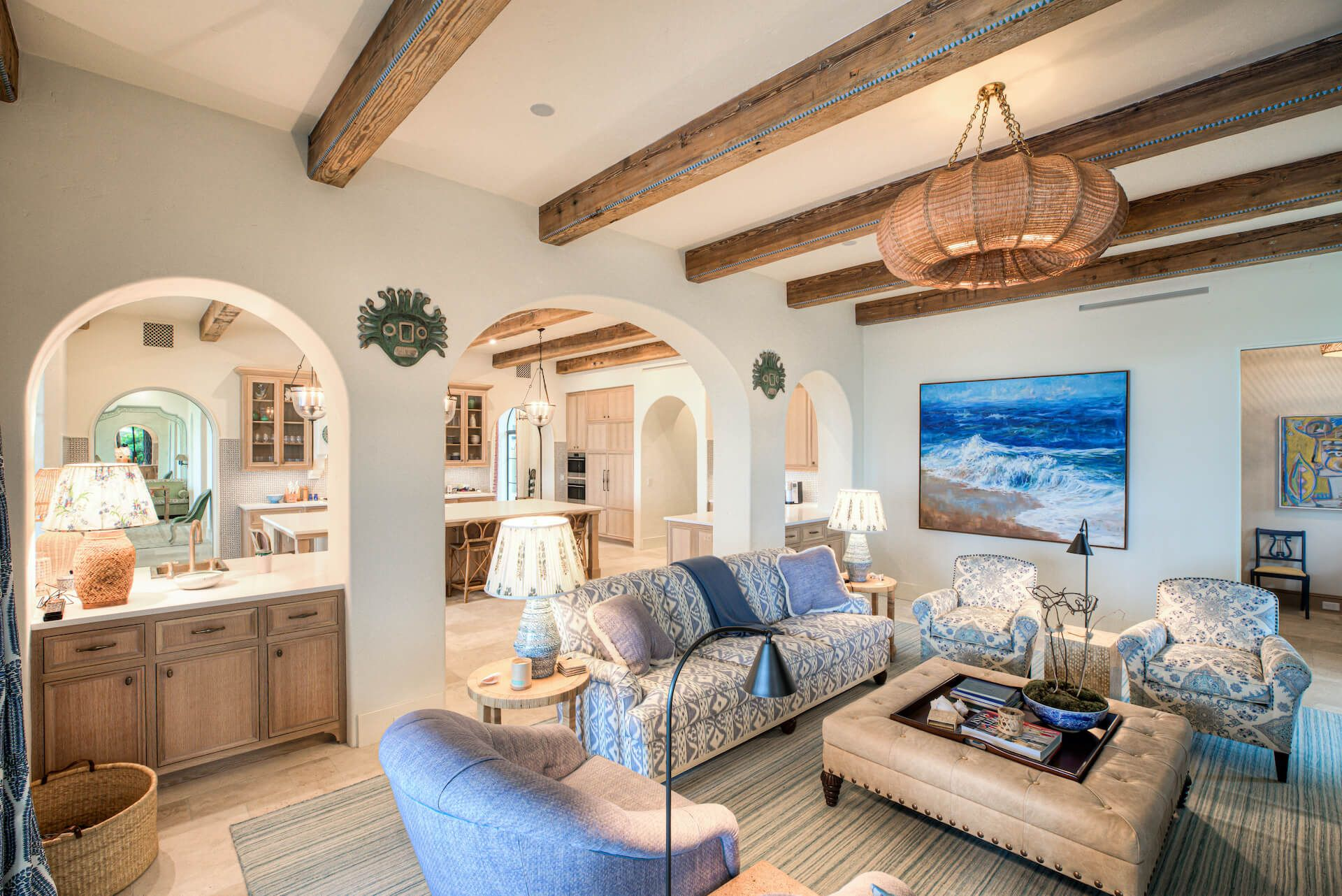Living room with wood beams and high end furnishings
